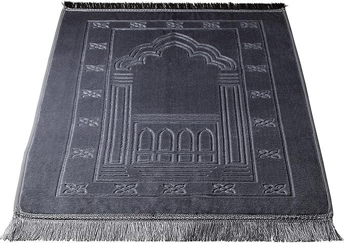 Deserthome Prayer Rugs,Sajda Muslim Prayer Carpet Velvet Fashion Islamic Prayer Mat (Silver Grey)