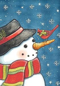 Toland Home Garden Cardinal Snowman 28 x 40 Inch Winter Bird Snow Scarf House Flag
