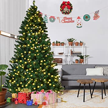 goplus 8ft pre lit pvc artificial christmas tree auto spread close up premium