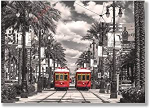 VinMea Wall Art Paintings New Orleans-Streetcars for Living Room Wall Art Office Wall Artworks Bedroom Decoration Bathroom Home Wall Decor,16x24 Inch