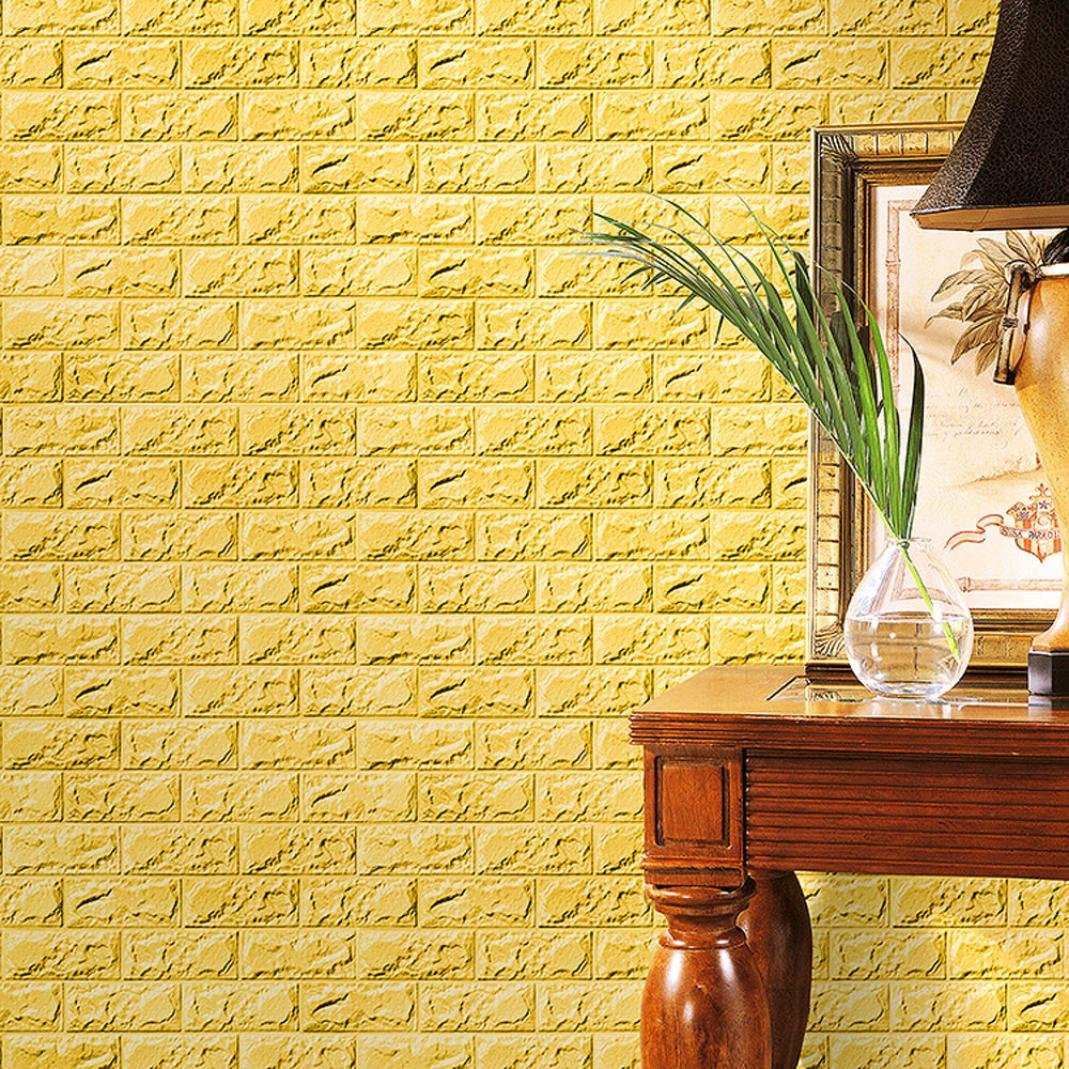 FAMILIZO PE de espuma de 3D Wallpaper DIY pared pegatinas Decoració n de pared en relieve piedra de ladrillo (60_x_30_cm, Amarillo)