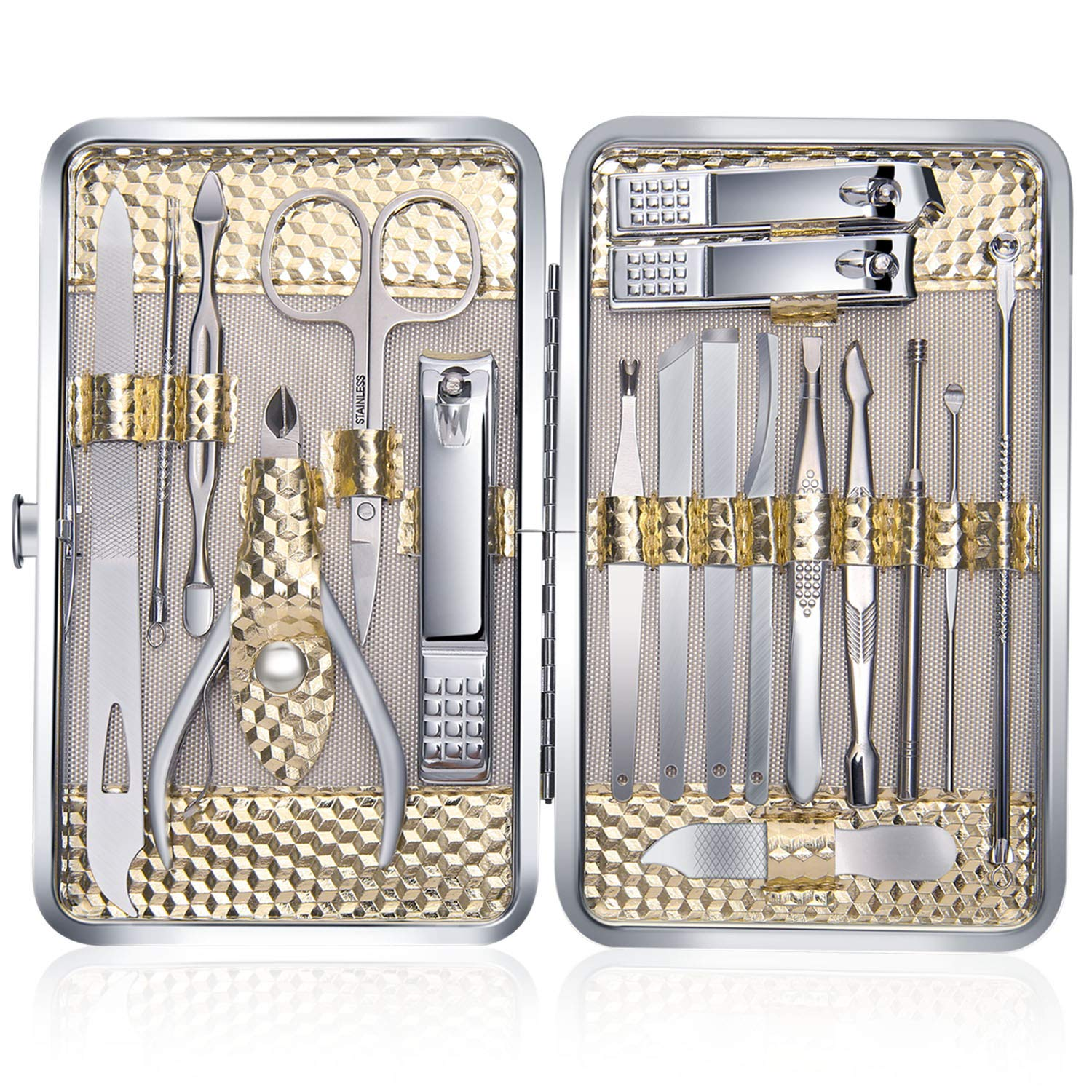 Manicure Set Professional Nail Clippers Kit Pedicure Care Tools-Stainless Steel Women Grooming Kit 18Pcs With PU Leather Case for Travel or Home (Gold)