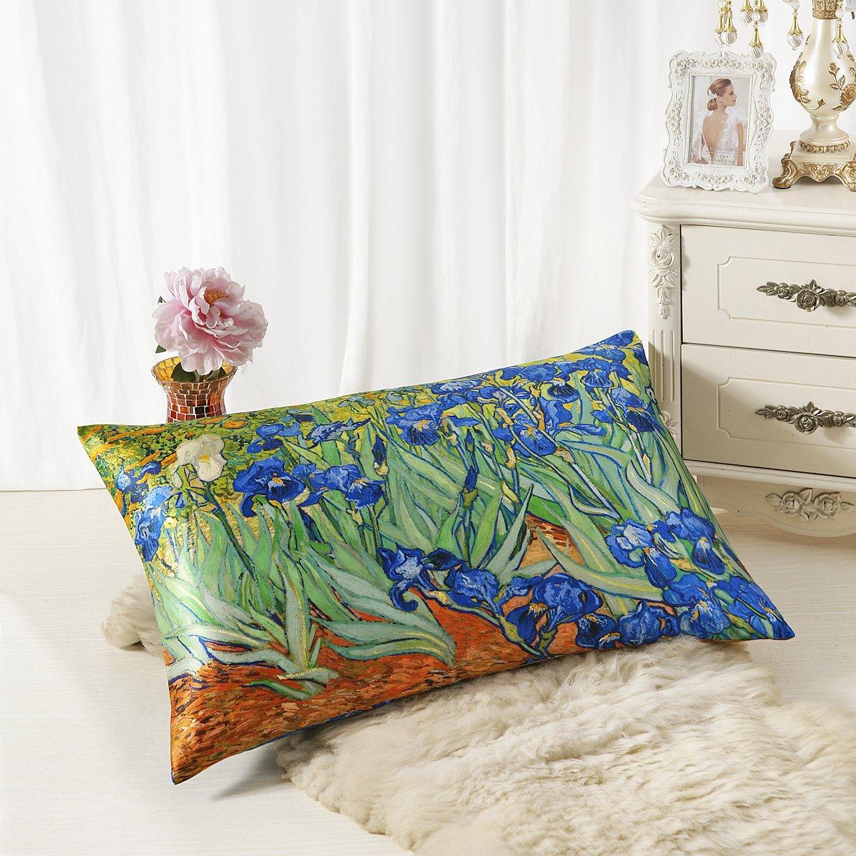 (King, Irises) ALASKA BEAR Natural Silk Pillowcase, Hypoallergenic, 19 momme, 600 thread count 100 percent Mulberry Silk, Queen Size with hidden zipper (King, Irises) B0739WJ5Z4 キング,Irises