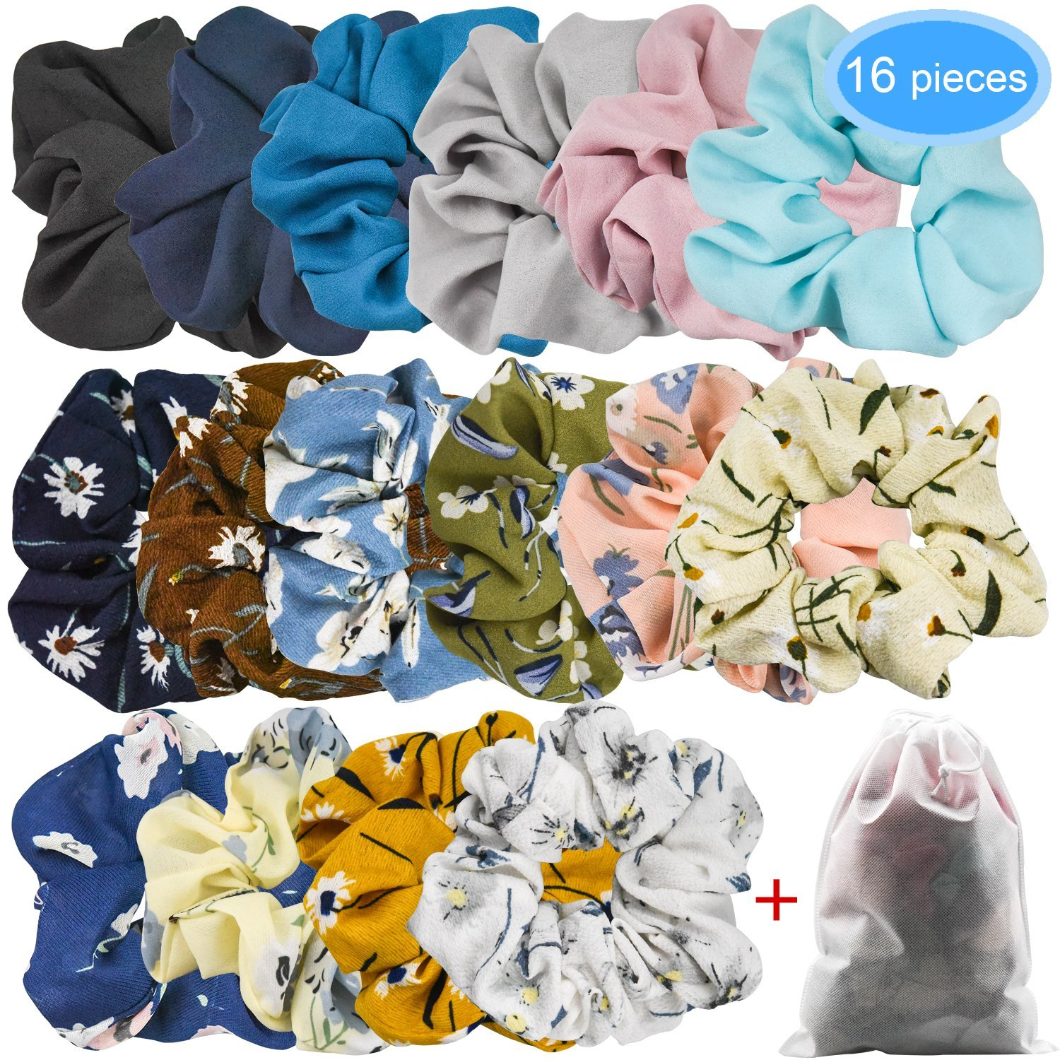 EAONE 16 Pack Chiffon Scrunchies Hair Flower Ponytail Holder Soft Colorful Scrunchy Bobble Hair Bands Ties, 10 Colors Chiffon Flower Scrunchies 6 Solid Colors Chiffon with Pouch Bag