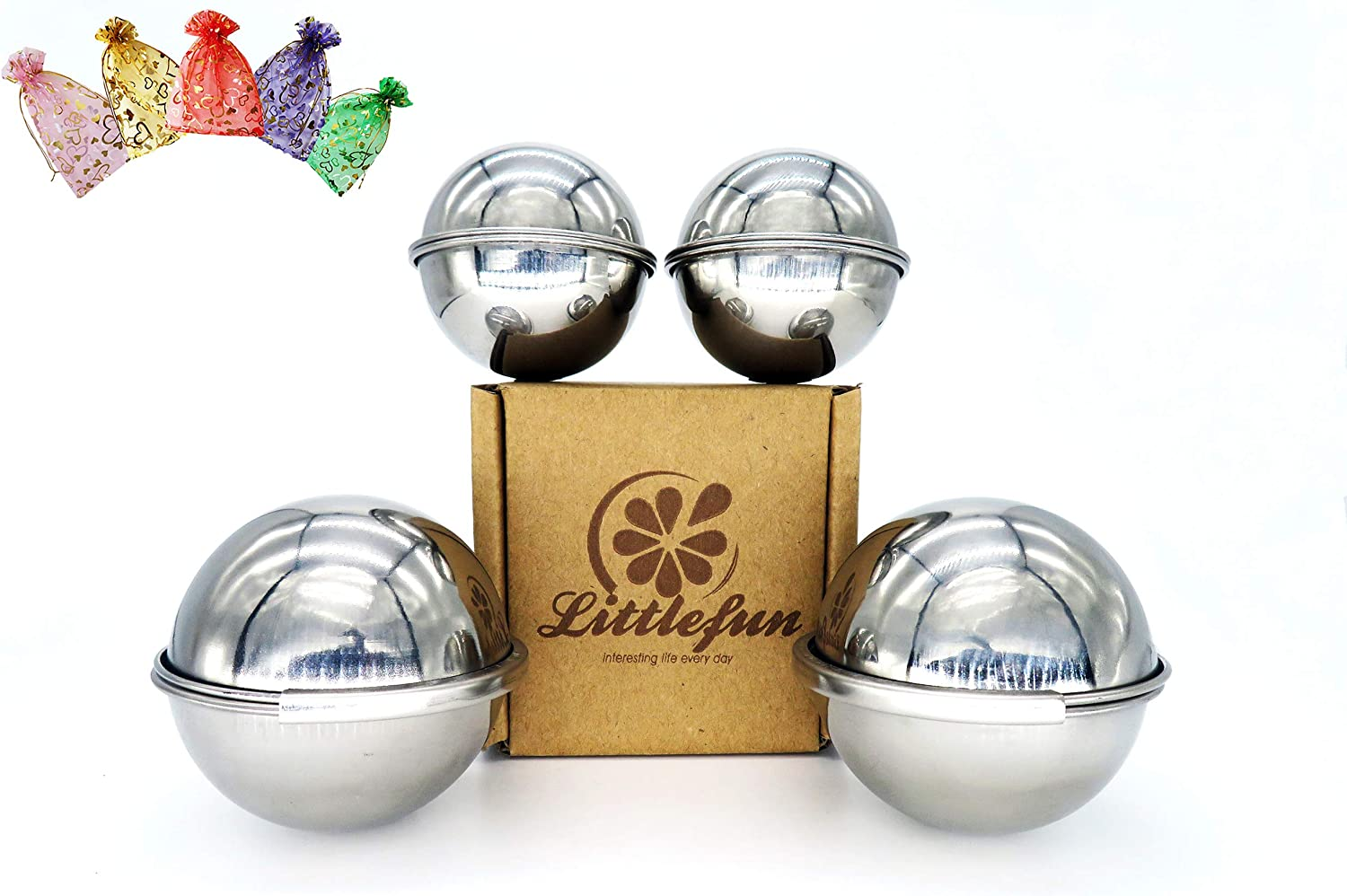 LITTLEFUN 304 Stainless Steel Bath Bomb Mold with 2 Sizes 4 Sets 8 Pieces Hemispheres for Making Your DIY Craft Soap ?Unique Design Latch for Large Mold ? Mix Your Own Recipes ? Free 2 Gift Bags