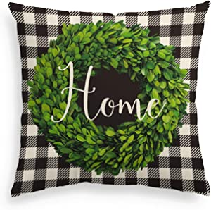 AVOIN Fall Buffalo Check Plaid Boxwood Wreath Home Throw Pillow Cover, 18 x 18 Inch Farmhouse Easter Linen Cushion Case Decoration for Sofa Couch