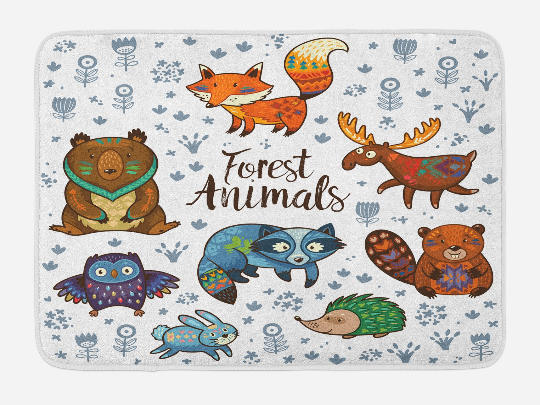 Lunarable Moose Bath Mat, an Assortment of Cute Animals Fox Elk Badger Raccoon Owl Hedgehog and Bunny Happy, Plush Bathroom Decor Mat with Non Slip Backing, 29.5 W X 17.5 W Inches, Multicolor by Lunarable (Image #1)