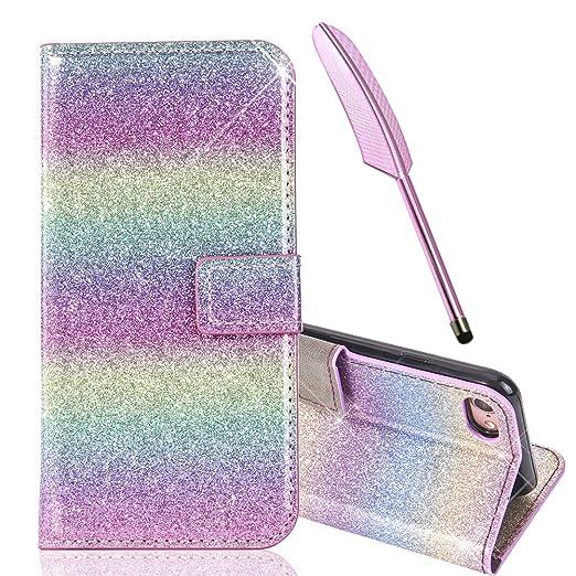 Funda de Edaroo con tapa magnética de purpurina para iPhone 7 de 4,7 pulgadas, función atril, piel sintética, compartimentos de monedero, multicolor