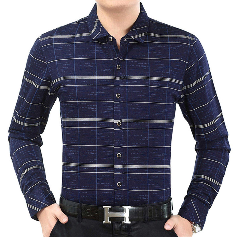 Shining4U Dress-shirts Male Casual Business fit Men Shirt Long Sleeve Plaid Social Shirts Dress