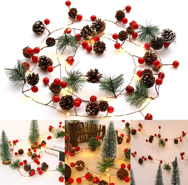 Ocosy Christmas String Light Creative Pinecone Bell Berries Decor Fairy String Light 20 LEDs String Light 6.56ft. Battery Powered (20Led)
