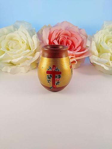 Pot En Terre Cuite Peint à La Main Motif Croix Et Fleurs Pot 004