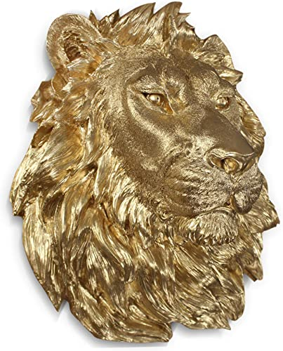 Wall Charmers Large Gold Faux Lion Head Wall Hanging – 17 inch Faux Taxidermy Animal Head Wall Decor – Handmade Farmhouse Decor Lion Statue