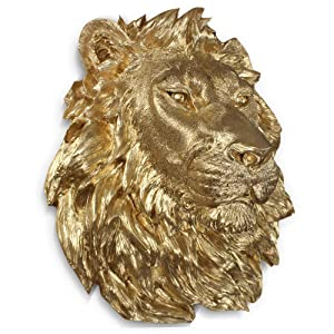 "Wall Charmers Large Gold Faux Lion Head Wall Hanging - 17"" Faux Taxidermy Animal Head Wall Decor - Handmade Farmhouse Decor"