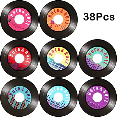 38 Pieces Records Cutouts Colorful Record Decoration 1950s Party Decorations for Theme Party Favors, 8 Styles: Toys & Games