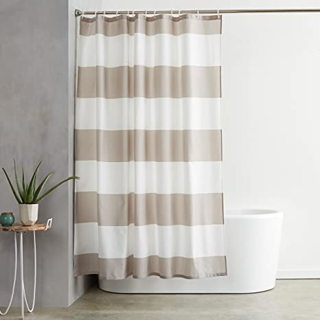 Amazon AmazonBasics Shower Curtain With Hooks Treated To Resist Deterioration By Mildew