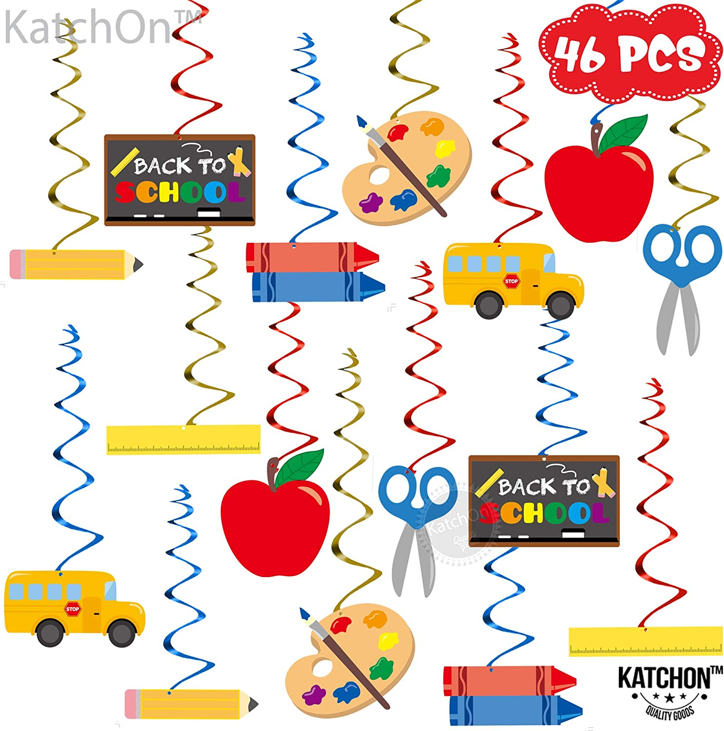 Back To School Decorations Hanging Swirls - Pack of 8  Back To School  Decor l School Classroom Hanging Decorations  Bus School Themed  Decorations
