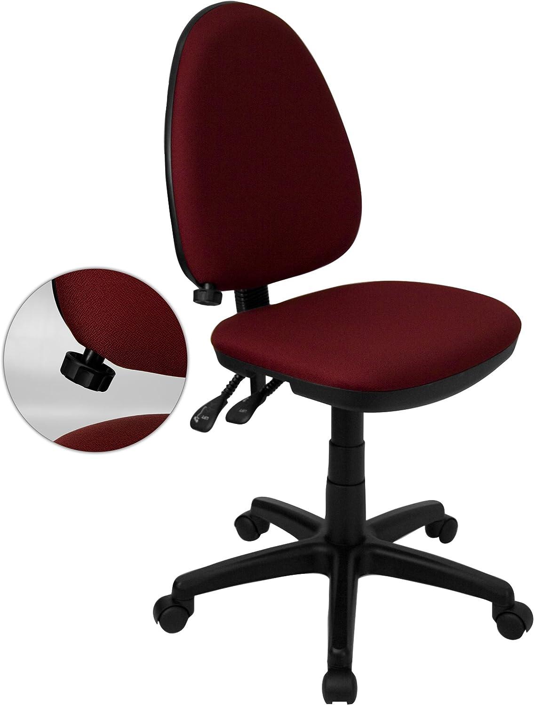 Flash Furniture Mid-Back Burgundy Fabric Multifunction Swivel Ergonomic Task Office Chair with Adjustable Lumbar Support