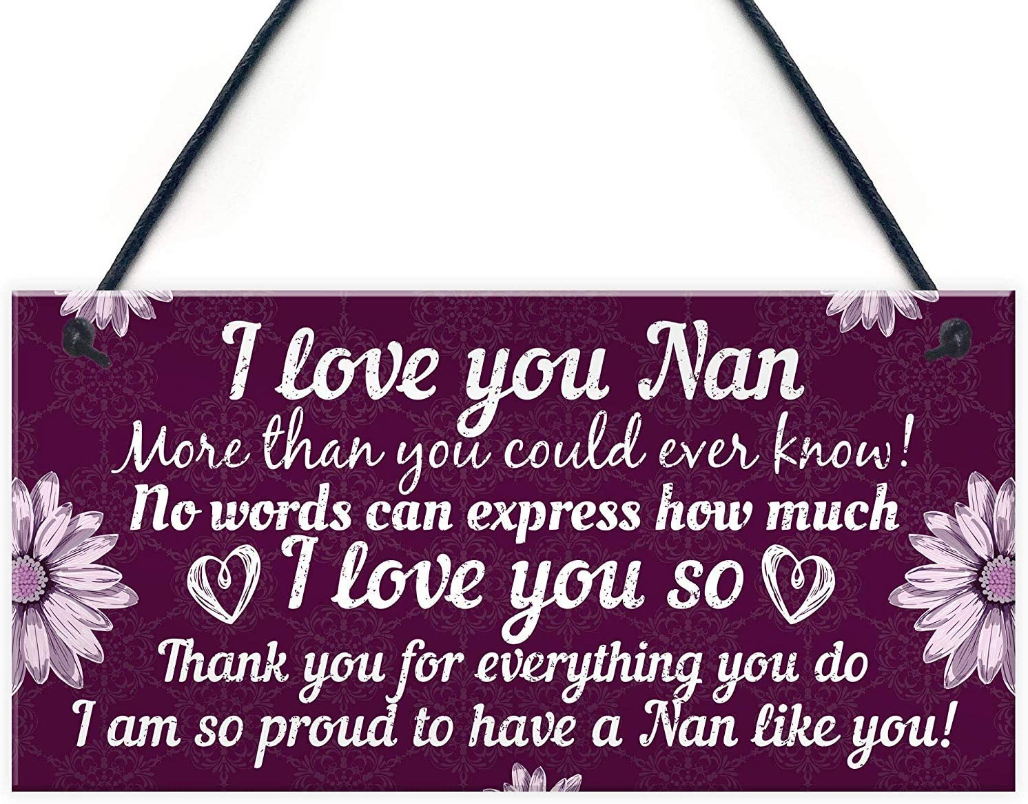 Meijiafei Birthday for Nan Hanging Plaque Special Thank You Gifts for Grandparents Keespake 10