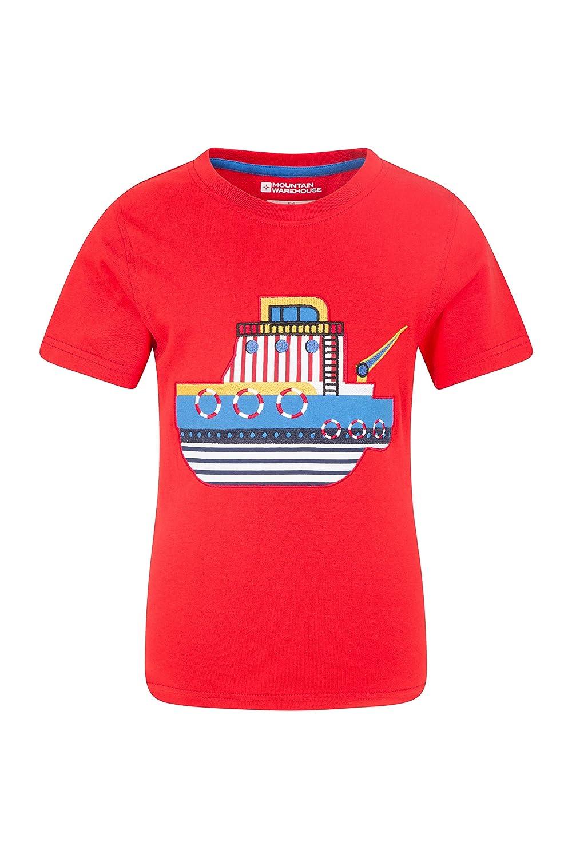 Mountain Warehouse Set Sail América Impresa Embroma la te - 100% Camiseta del algodón, Tapa de los Grandes niños de la impresión, luz, Breathable, Camisa fácil Camisa fácil Rojo 2-3 Años