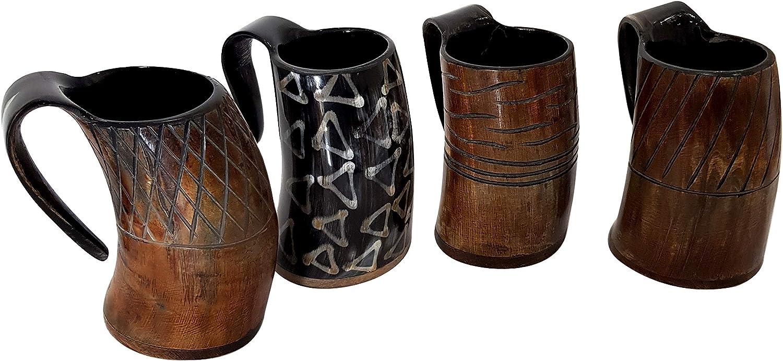 Viking Drinking Horn Mug Medieval Renaissance Beer Ale, Mead Food Safe Tankard Set of 4