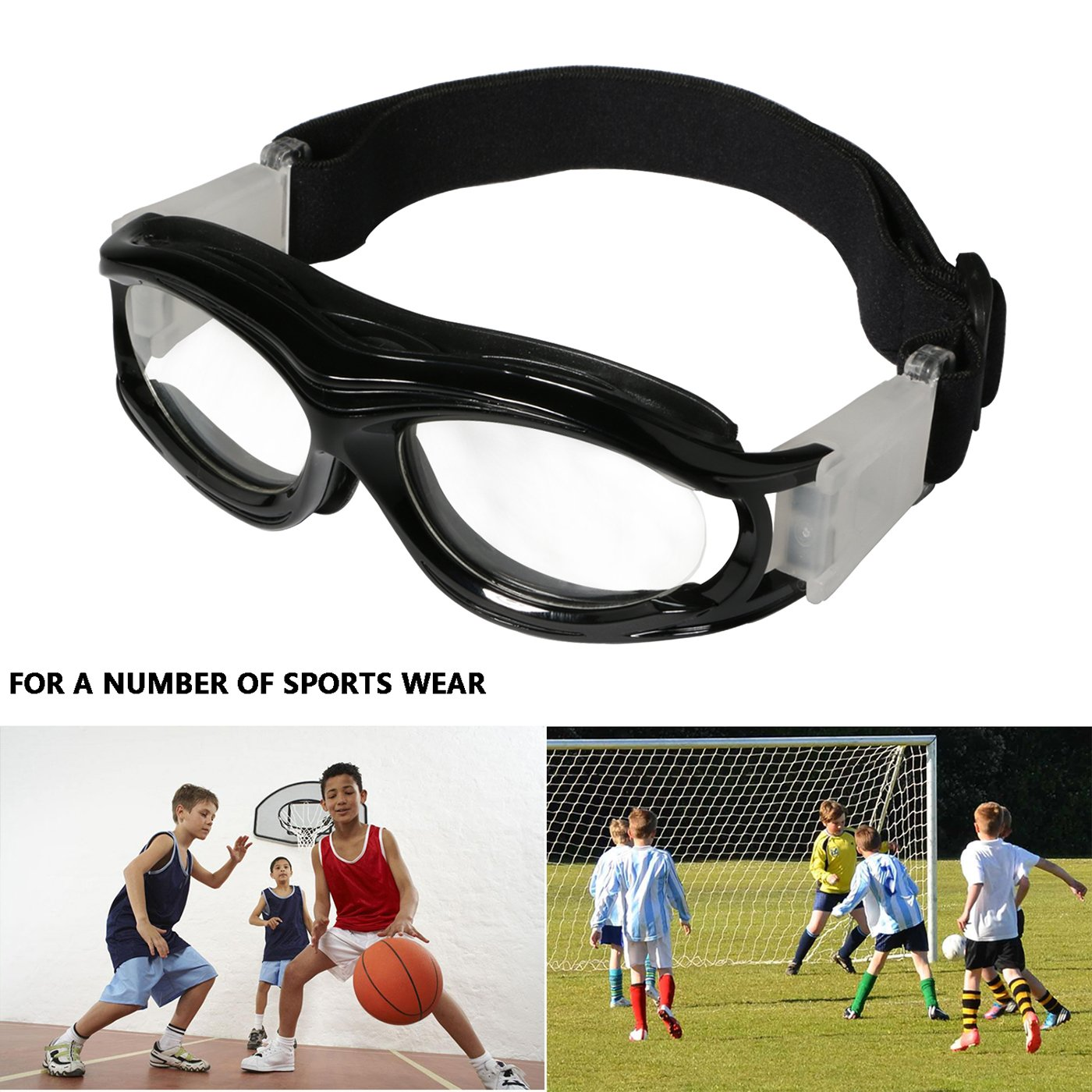 9208b33393f Amazon.com   Kids Sports Goggles Outdoor Eye Protection Impact-resistant Glasses  Eyewear with Adjustable Strap Removable Headband for Children Basketball ...