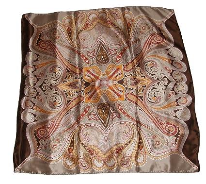 1ecc997c19ba2 itendance Foulard Femme - Carré de Soie - Motifs Cachemire (Beige):  Amazon.fr: Vêtements et accessoires