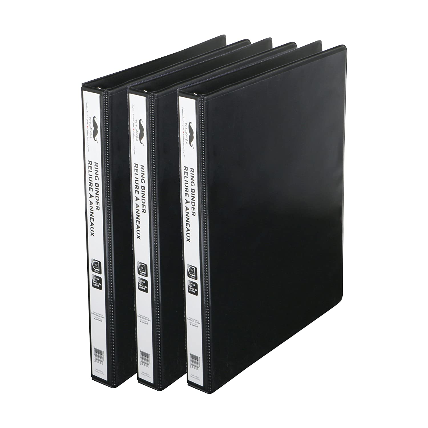 3 Pack Moustache ® 1-1/2 Heavy Duty D-Ring View Binder, Customizable, 3 Rings, Letter Size, 380-Sheets Capacity, Black
