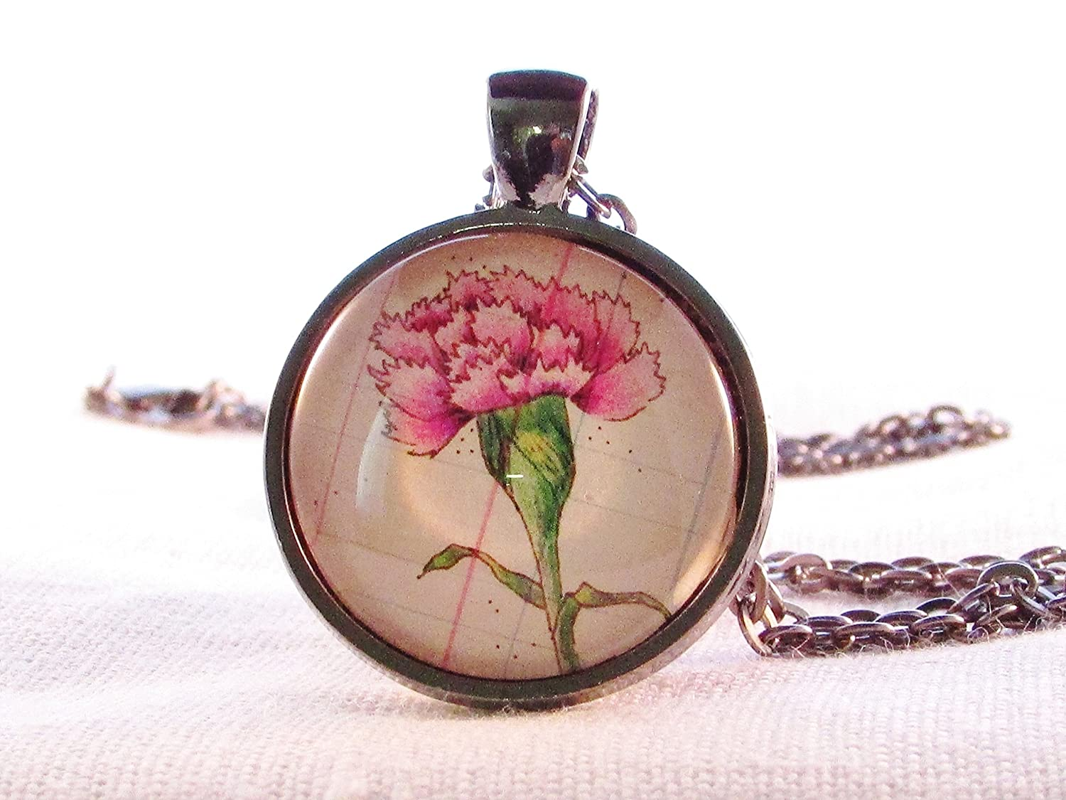 January Birthday Month Flower Carnation Necklace Round Glass Pendant