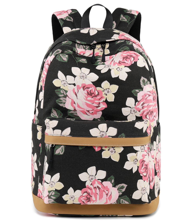 Abshoo Cute Canvas Floral Backpacks for Teen Girls School Bookbags (Floral Black) by abshoo