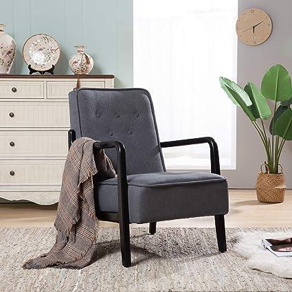 Incredible Mid Centruty Modern Upholstered Accent Chair Wooden Frame Arm Sofa Dark Grey Machost Co Dining Chair Design Ideas Machostcouk