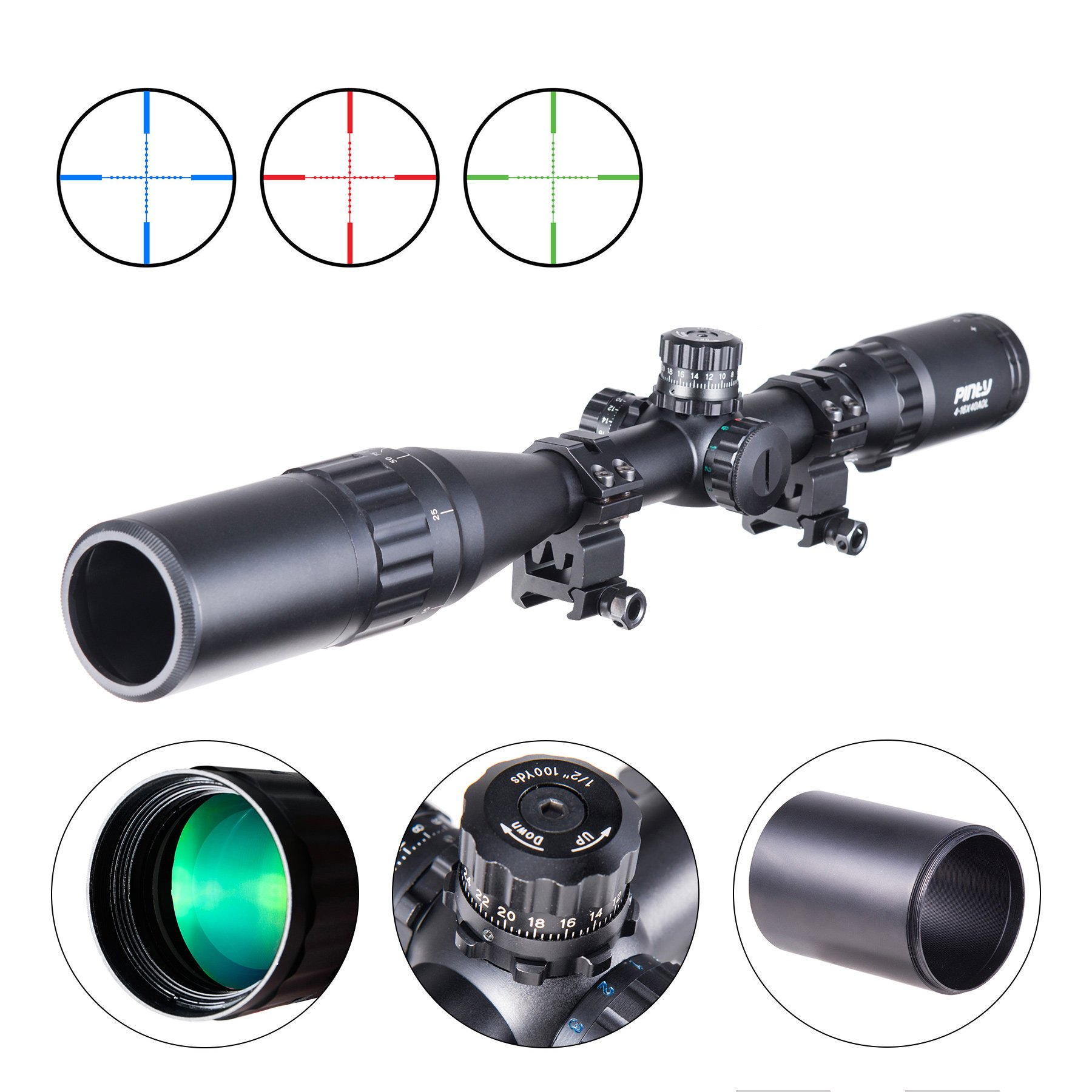 Pinty 4-16X40 Rifle Scope AO Red Green Blue Illuminated Mil Dot with Flip-Open Covers, Sunshade Tube by Pinty