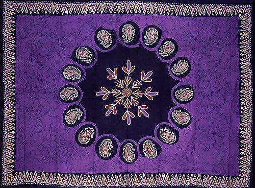 Batik Tapestry Cotton Spread 106 x 70 Twin Purple