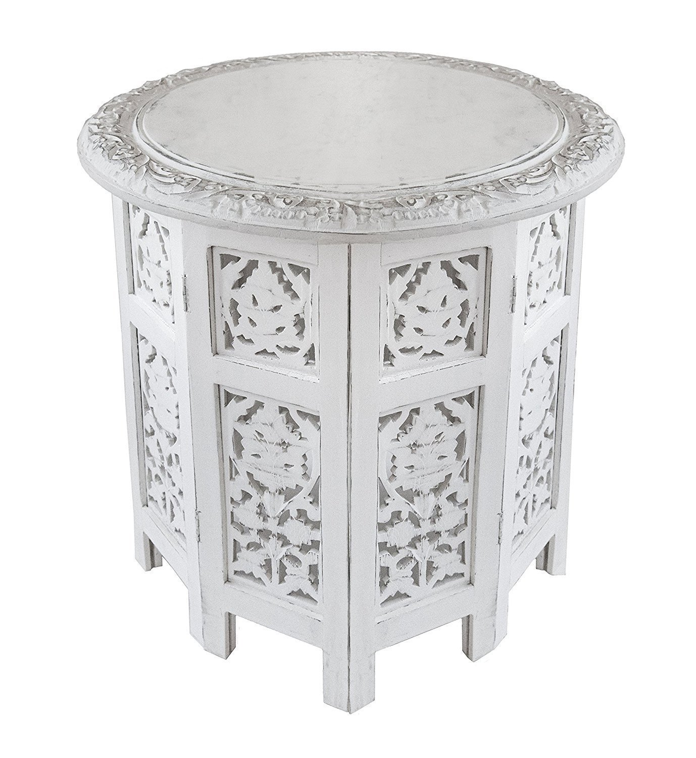 Artesia Wooden Handcrafted Carved Rajasthan Solid Folding White Accent Coffee Table