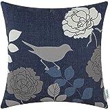 CaliTime Canvas Throw Pillow Cover Case for Couch Sofa Home Decor Floral Cartoon Shadow Bird Silhouette 18 X 18 Inches Navy Ground Grey Bird