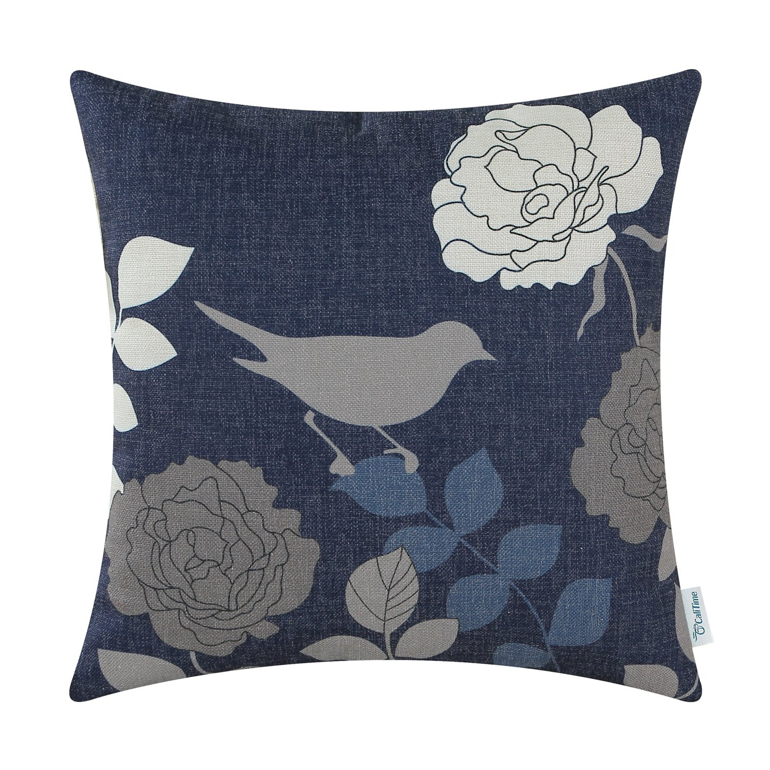 CaliTime Canvas Throw Pillow Cover Case for Couch Sofa Home Decoration Floral Cartoon Shadow Bird Silhouette 18 X 18 inches Navy Ground Grey Bird