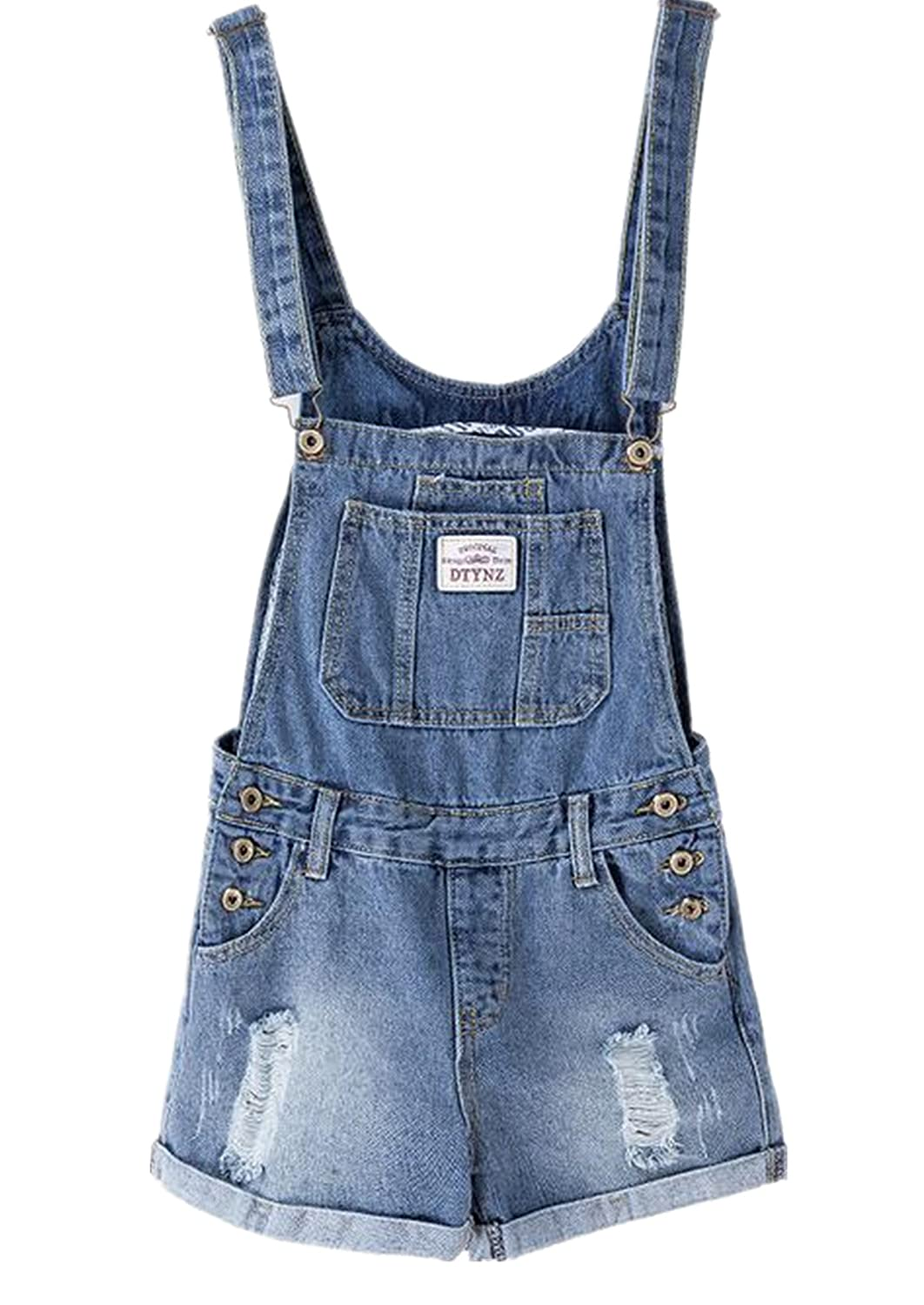 Lingswallow Women's Vintage Stretch Overalls Ripped Blue Cowboy Denim Shorts