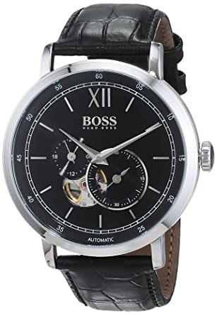 ccb801cdd hugo boss Signature Collection Men's Black Dial Leather Band Watch - 1513504