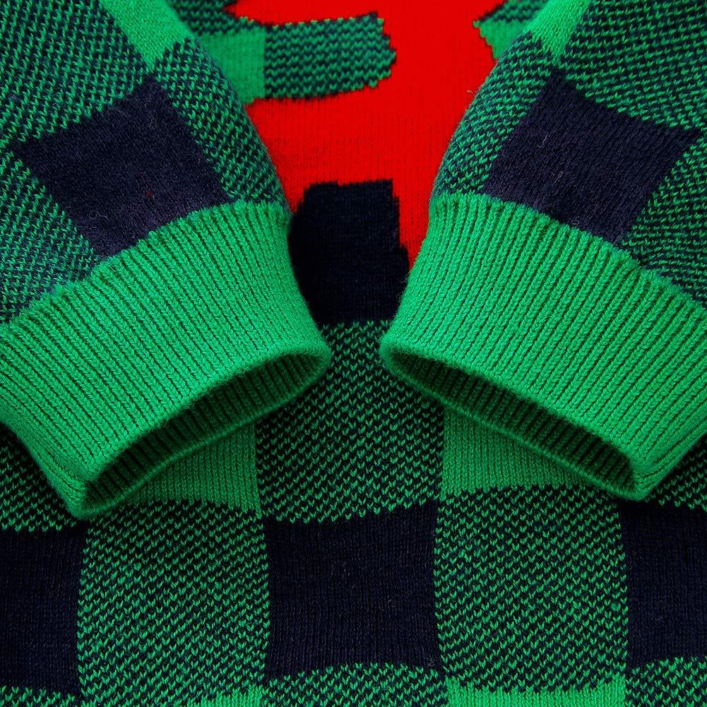Hongyuangl Baby Onesies Autumn Winter Knitwear Long Sleeve Romper Christmas Plaid Jumspuit Sweater Pants Cap