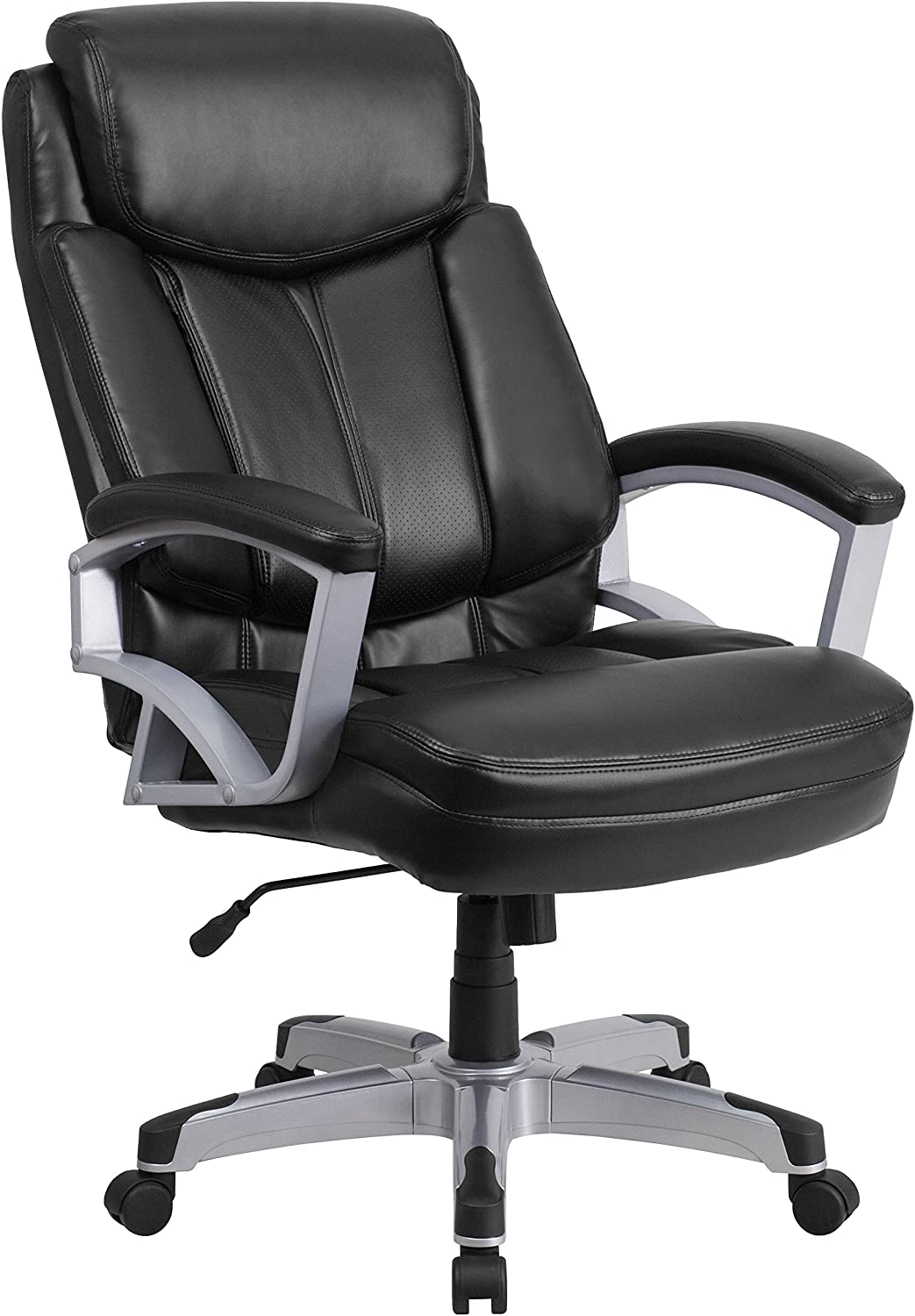 Flash Furniture HERCULES Series Big & Tall 500 lb. Rated Black Leather Executive Swivel Ergonomic Office Chair with Arms