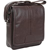 Sphinx Artificial Leather Long Flap Cross-Body Sling Bag for Men/Boys - (L x B x H: 30 x 25 x 7 cm) (Dark Brown)