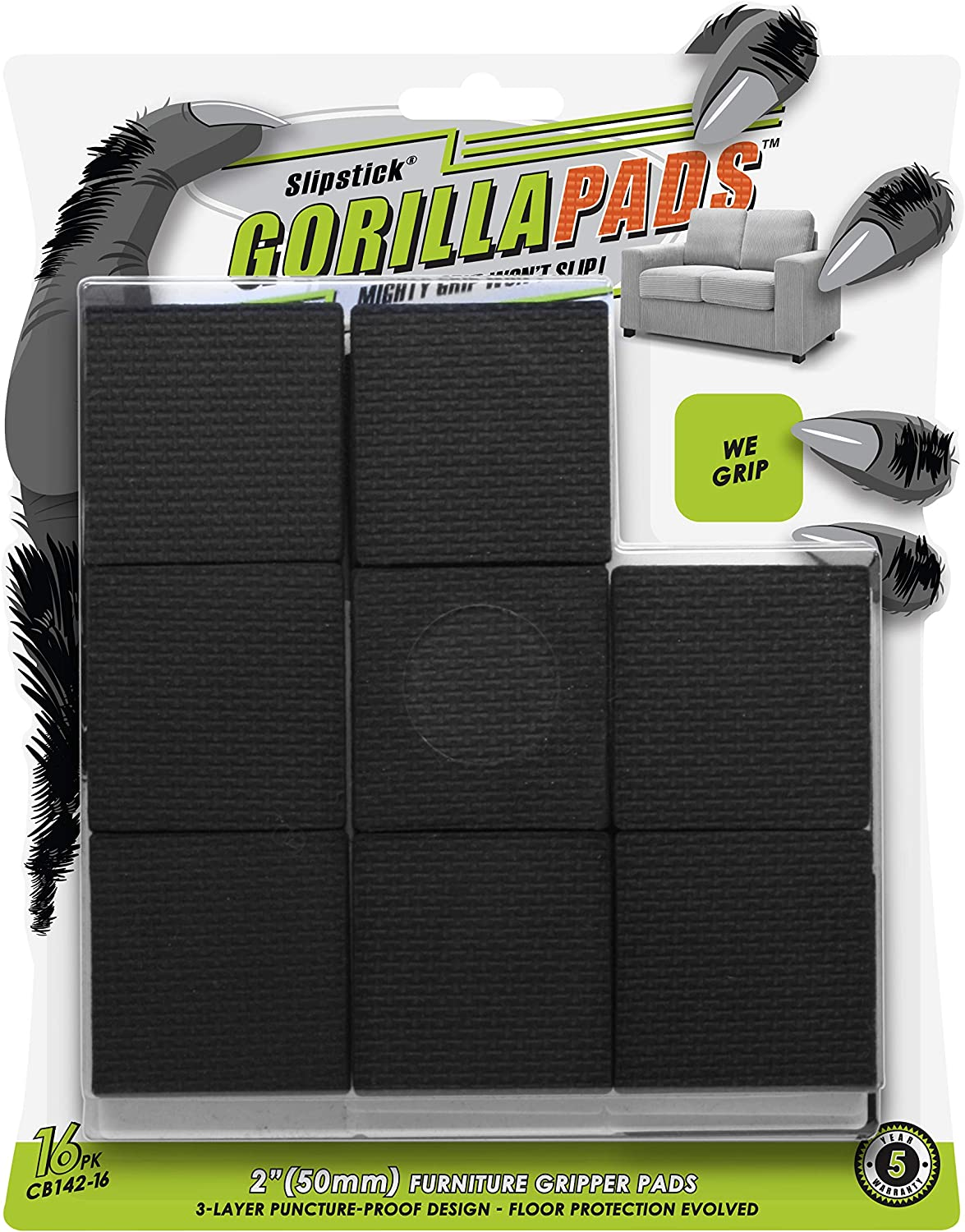 GorillaPads Non-Slip Furniture Pads/Floor Grippers (Set of 16 Grips) 2 Inch Square Floor Protectors for Under Furniture, Black, CB142-16