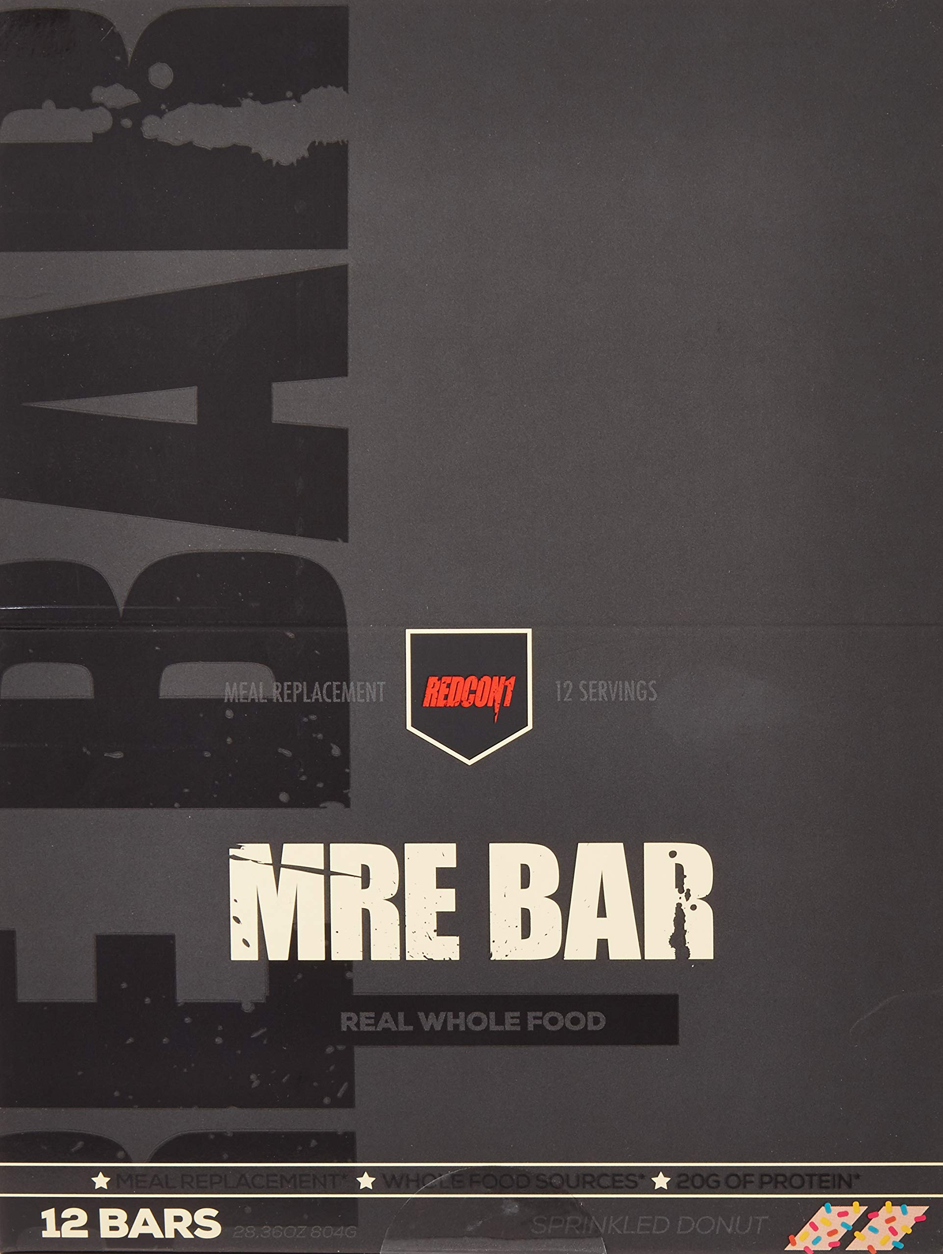 MRE Bar - Meal Replacement Bar (1 Box / 12 Bars) Sprinkled Donut