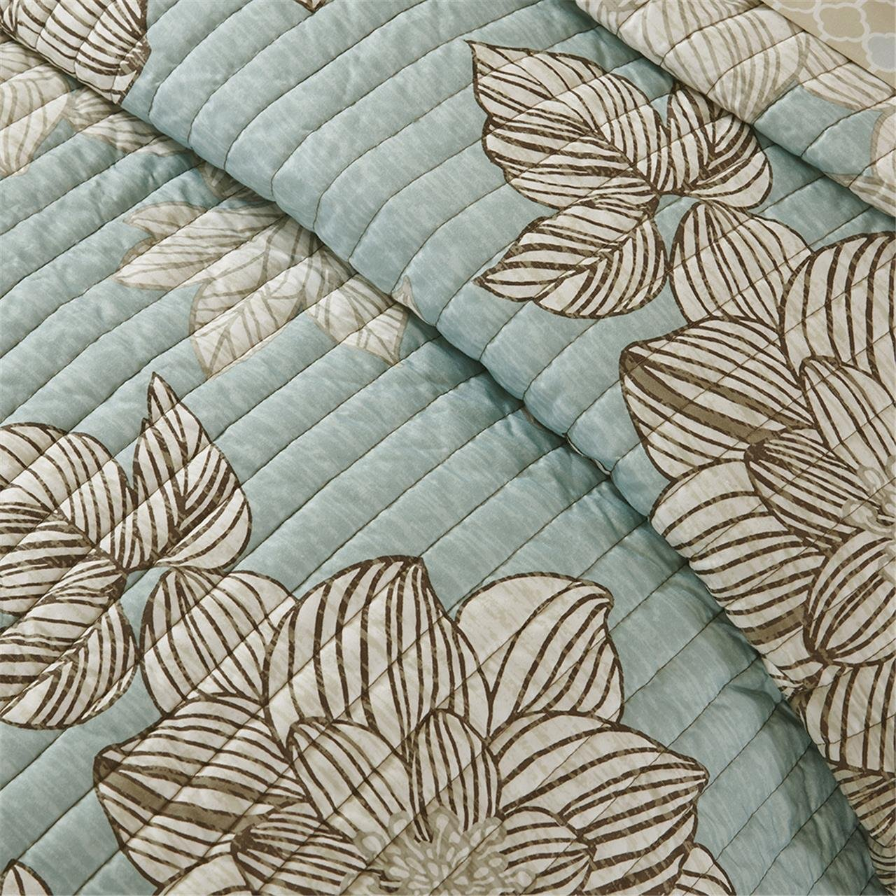 Madison Park Essentials Avalon Twin Size Quilt Bedding Set - Aqua, Khaki, Floral – 6 Piece Bedding Quilt Coverlets – Ultra Soft Microfiber Bed Quilts Quilted Coverlet