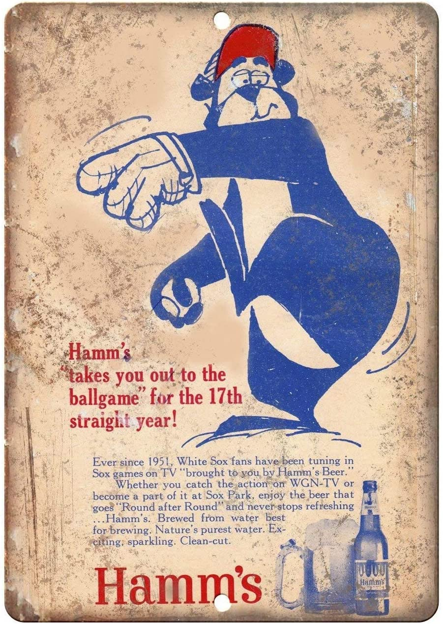 DKISEE - 1951 Hamm's Beer White Sox - Vintage Look Reproduction Wall Poster Tin Sign Vintage BBQ Restaurant Dinner Room Cafe Shop Decor 8