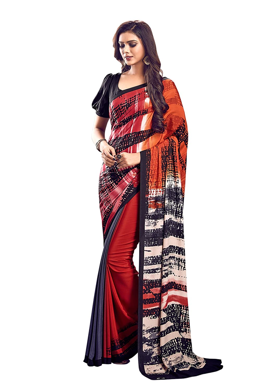 a094b7f604 Jaanvi fashion Women's Crepe Abstract Printed Saree: Amazon.co.uk: Clothing