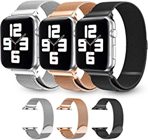 3 Pack Magnetic Watch Band Compatible with Apple Watch Bands 38mm 40mm 42mm 44mm Women Men,Adjustable Stainless Steel Mesh Metal Loop Replacement Magnetic Bands for iWatch Series 6/5/4/3/2/1
