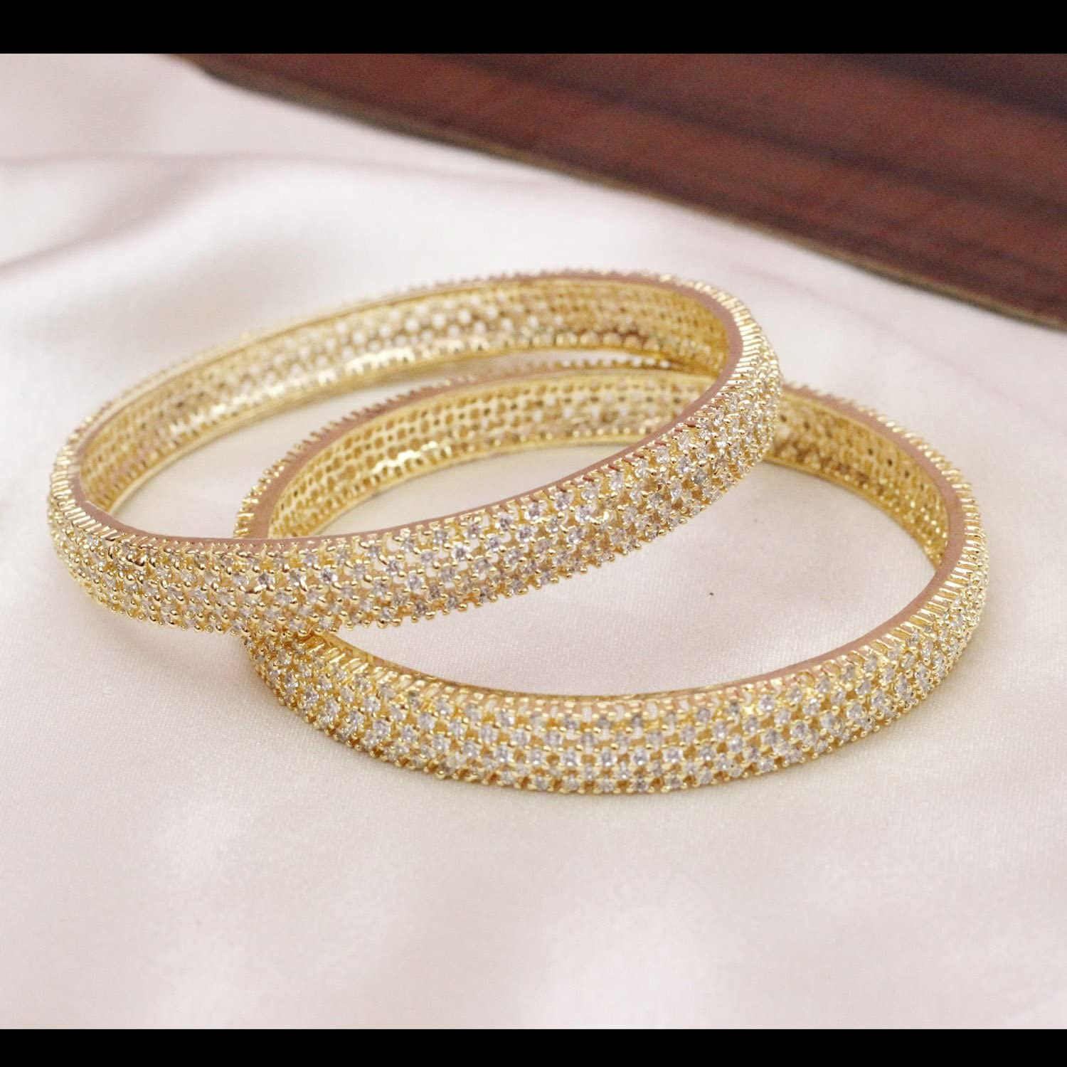 2.8 CHAUHAN COLLECTION 2Pc Indian Antique AD American Gold Plated bangle set women Wedding jewelry