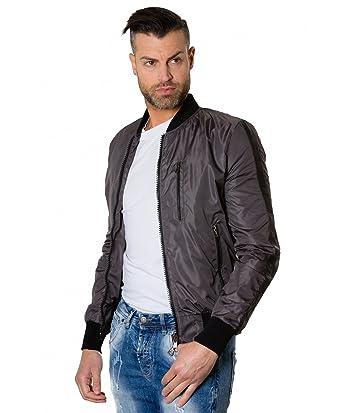 D Arienzo - GAUDIL • colore grigio • Bomber in tessuto con inserti in pelle   Amazon.it  Abbigliamento 62187a4f53c