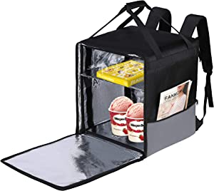 Food Delivery Bag Uber Eats, Insulated Backpack for Pizza Wormer Hot Food