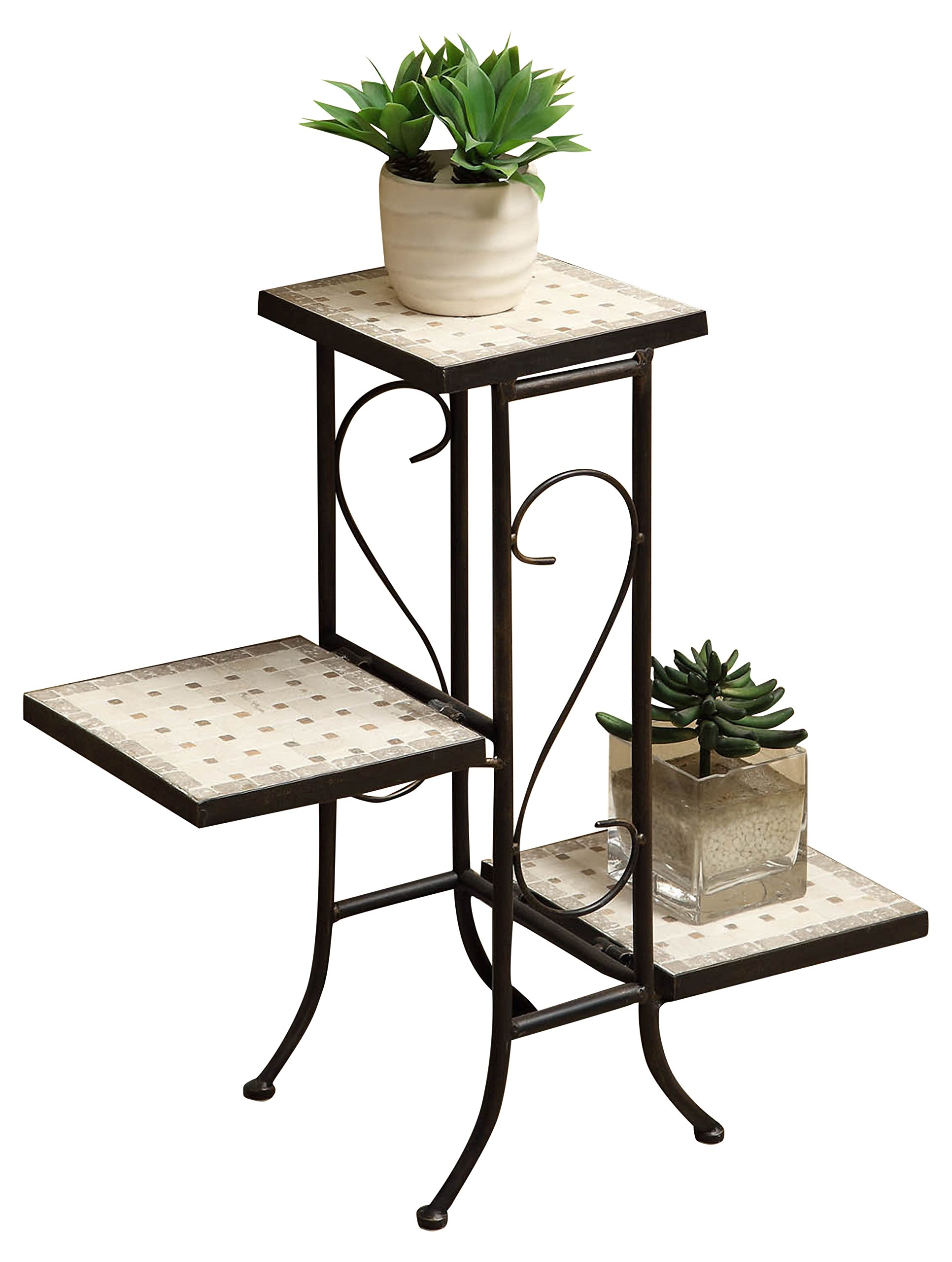 4D Concepts 3 Tier Travertine Plant Stand